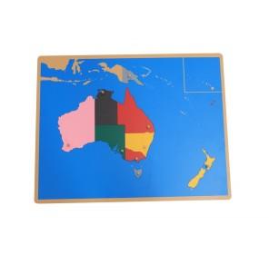 Puzzle carte Océanie en bois