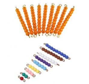 Barrettes perles 1 à 9 et dizaines pour escalier de perles