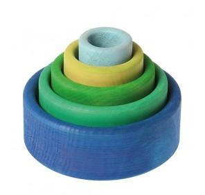 5 bols colorés - océan
